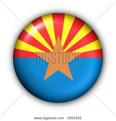 Round Button Usa State Flag Of Arizona