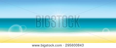 poster of Summer Background Vector Illustration. Blurred Summer Beach, Sun, Sky, Sea, Ocean And Sand. Summer L