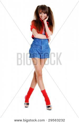 Young very happy gesturing smiling woman, isolated on white