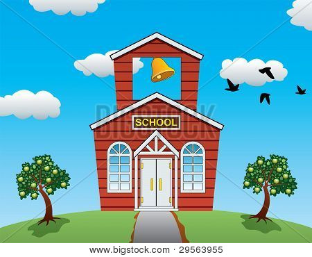 Vector Country School House, Apple Trees, Clouds And Flying Birds