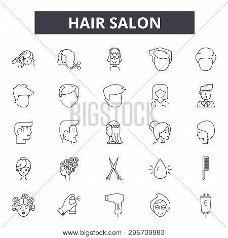 poster of Hair Salon Line Icons, Signs Set, Vector. Hair Salon Outline Concept, Illustration: Salon, Hair, Bea
