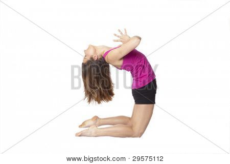 woman doing backbend in yoga, clipping path included