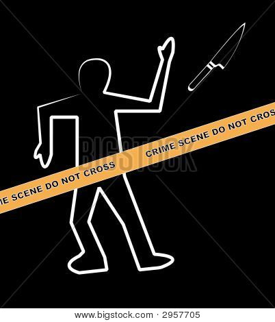 Body Crime Scene Do Not Cross Knife
