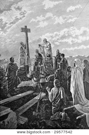 Exaltation of the life-giving cross. Engraving by Helmitsky from picture by painter Matveev. Published in magazine