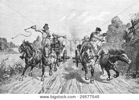 Rurales de las carreras de caballos. Grabado por Olszewski del cuadro de pintor Stein. Publicado en la revista