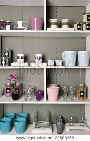Shelves with goods