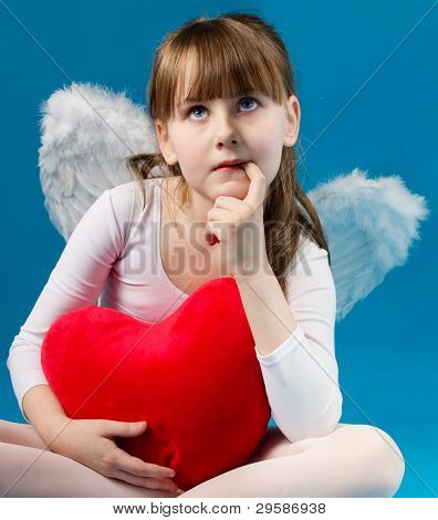 girl angel Valentine's day retro