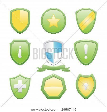 Glossy Shield Icons Set
