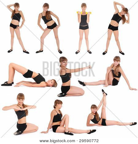 Ten Poses. Fitness Girl On White Background
