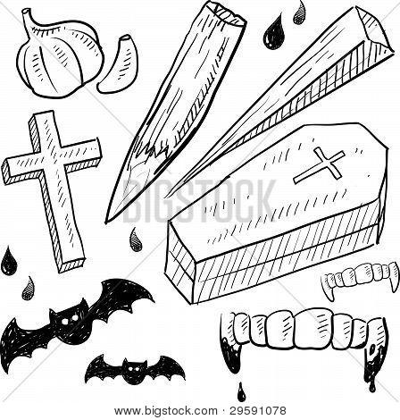 Desenho de objetos de vampiro