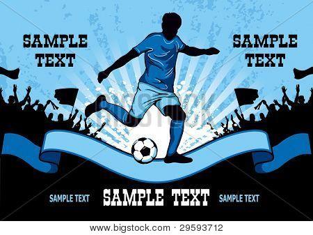 Cartel de fútbol con el futbolista y el lugar para el texto