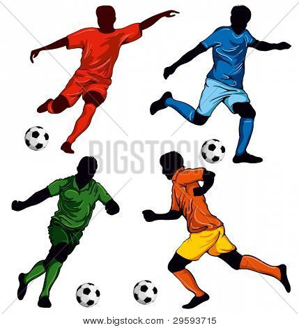 Set of four soccer players in different poses. Beautiful items for your design.