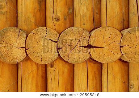 cut a wooden log construction
