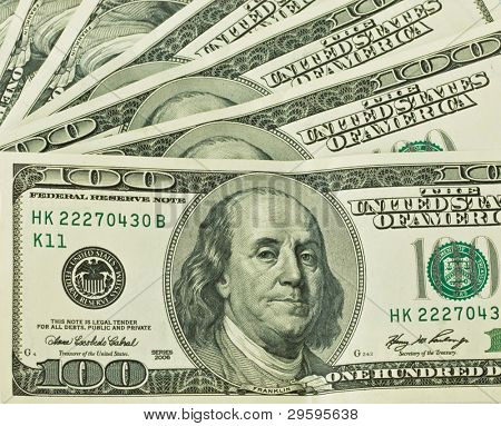 background of one hundred dollars, closeup