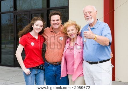 Election - Family Outside Polls