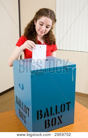 Election - Young Voter Casts Ballot