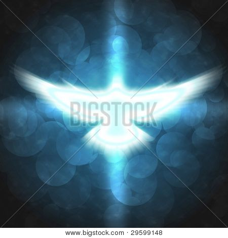 shining dove with rays on a dark blue background
