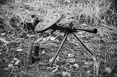World War Ii Soviet Red Army Weapon. Degtyaryov Dp Machine Gun On Ground. Wwii Ww2 Russian Ammunitio poster