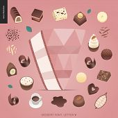 Dessert Font - Letter V - Modern Flat Vector Concept Digital Illustration Of Temptation Font, Sweet  poster