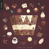 Dessert Font - Letter W - Modern Flat Vector Concept Digital Illustration Of Temptation Font, Sweet  poster