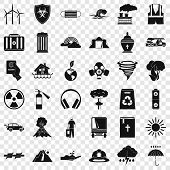 Natural Disaster Icons Set. Simple Style Of 36 Natural Disaster Vector Icons For Web For Any Design poster