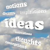 Many words such as Ideas, Inspirations, Innovations, Thoughts and Dreams in a cloudy blue sky as a b