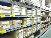 Image Of Stock Inventory Shelf, Stack Of Carton Boxes, Modern Logistics Smart Warehouse Management.  poster