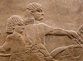 picture of babylonia  - Ancient Assyrian wall carvings of men with long hair