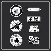Vector Logo Stickers For Products. Stickers Fat Free For Product Packaging. Fat-free Drawn Isolated  poster