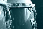 foto of congas  - Set of vintage conga drums instrument monochrome - JPG