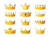 Cartoon Crown. Golden Emperor Prince Queen Royal Crowns Diamond Coronation Gold Antique Tiara Crowni poster