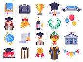Graduation Day Icons. College Graduate Students Party, Graduation Cap And Student Gown. Exams Icon V poster