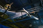 Unmanned Aerial Vehicle. Unmanned Military Aircraft. Drone In Hangar poster