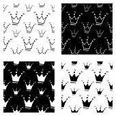 Cute Cartoon Crown Pattern Set With Hand Drawn Crowns. Sweet Vector Black And White Crown Pattern Se poster