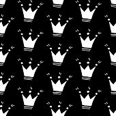Cute Cartoon Crown Pattern With Hand Drawn Crowns. Sweet Vector Black And White Crown Pattern. Seaml poster