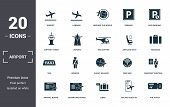 Airport Set Icons Collection. Includes Simple Elements Such As Takeoff, Landing, Around The World, P poster