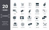 E-commerce Set Icons Collection. Includes Simple Elements Such As Shopping Bag, Shopping Cart, Wish  poster