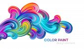 Modern Colorful Flow Poster. Wave Liquid Shape Color Paint. Art Design For Your Design Project. Vect poster