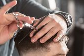 Close-up Hair Cutting With Metal Scissors. Master Cuts Hair And Beard Of Men In The Barbershop, Hair poster