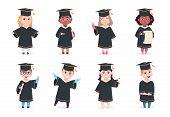 Graduate Kids. Kindergarten Preschool Graduating Children In Graduation Cap With Diploma Vector Cart poster