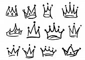 Hand Drawn Crowns Logo Set Isolated On White Background For Queen Icon, Princess Diadem Symbol, Dood poster