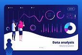 Data Analysis Landing. Big Data Digital Center Interactive Statistics Engine Office Marketing Profes poster
