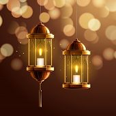 Glowing Fanous Or Vintage Fanoos, Hanging Islam Lantern Or Antique Arab Light With Candle At Night.  poster