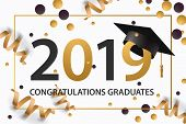 Graduating Class Of 2019. Poster, Party Invitation, Greeting Card In Gold Colors. Grad Poster, Vecto poster