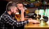 Hipster Brutal Man Drinking Beer With Friend At Bar Counter. Men Drunk Relaxing Having Fun. Alcohol  poster