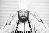 Chef At Work Starting Shift. Guy In Professional Uniform Ready Cook. Master Chef Concept. Culinary I poster