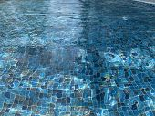 Top View Blue Water In Pool Of Caustics Ripple And Flow And Background Background, Summer Background poster