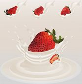 Splash Strawberry In Milk Realistic 3d Vector. Raw Strawberry Fruit. Whole And Slice Strawberry With poster