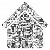 Home Collage Icon Combined For Bigdata And Computing Purposes. Vector Home Mosaics Are Combined From poster