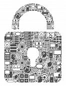 Lock Collage Icon Designed For Bigdata And Computing Illustrations. Vector Lock Mosaics Are Combined poster